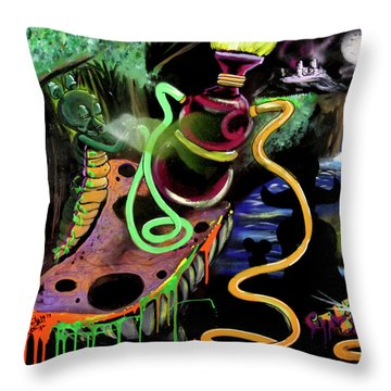 Throw Pillow featuring the painting Wonderland by eVol i