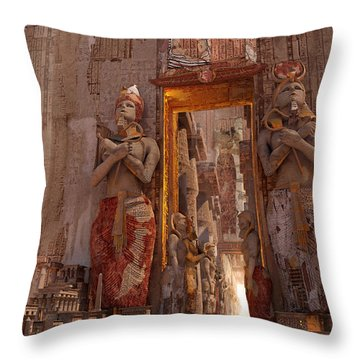 Throw Pillow featuring the digital art Wonders Door To The Luxor by Te Hu