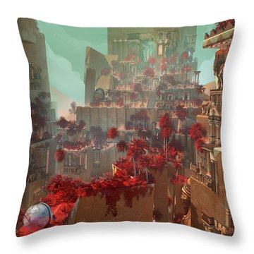 Throw Pillow featuring the digital art Wonders Hanging Garden Of Babylon by Te Hu