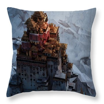Throw Pillow featuring the digital art Wonders Holy Temple by Te Hu