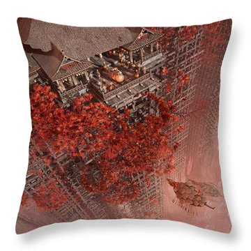 Throw Pillow featuring the digital art Wonders Liyomizu by Te Hu
