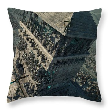 Throw Pillow featuring the digital art wonders Mausoleum at Halicarnassus by Te Hu