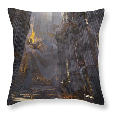 Throw Pillow featuring the digital art Wonders Temple Of Zeus by Te Hu