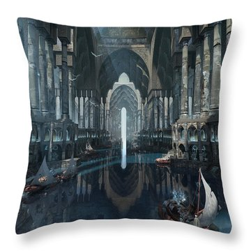 Throw Pillow featuring the digital art Wonders The Canal Of Isfahan by Te Hu