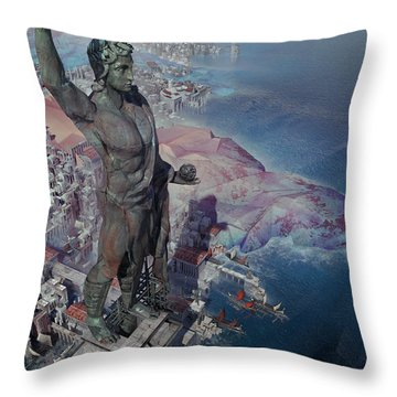 Throw Pillow featuring the digital art wonders the Colossus of Rhodes by Te Hu