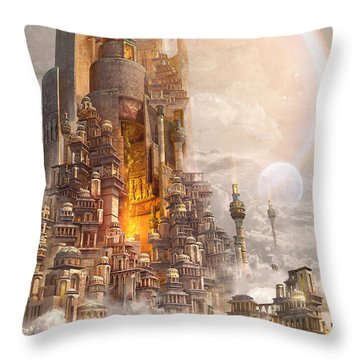 Throw Pillow featuring the digital art Wonders Tower Of Babylon by Te Hu