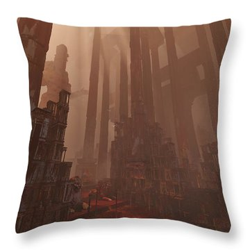 Throw Pillow featuring the digital art Wonders_temple Of Artmeis by Te Hu