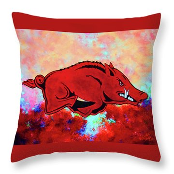 Woo Pig Sooie 3 Throw Pillow by Belinda Nagy