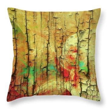 Throw Pillow featuring the digital art Wood Abstract by Deborah Benoit