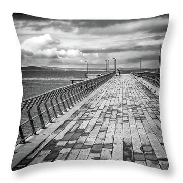 Throw Pillow featuring the photograph Wood And Pier by Perry Webster