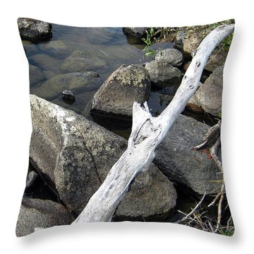 Wood And Rocks In Water Throw Pillow