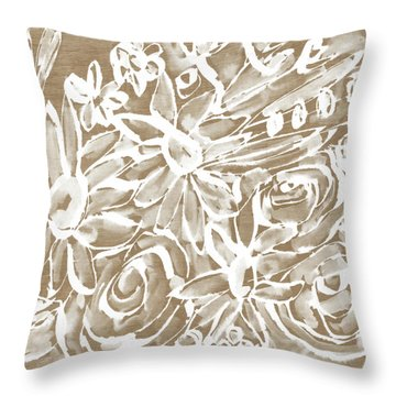 Wood And White Floral- Art By Linda Woods Throw Pillow by Linda Woods