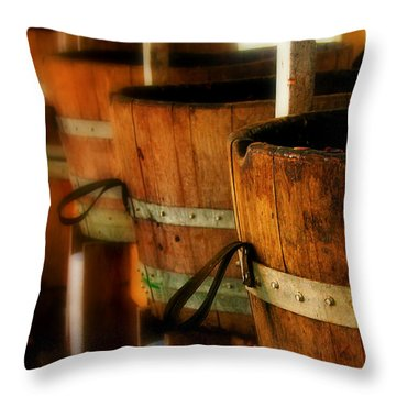 Wood Barrels Throw Pillow by Perry Webster