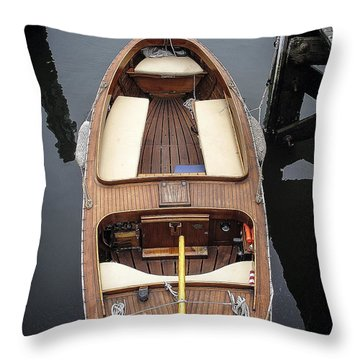 Wood Boat Nantucket Throw Pillow