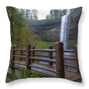 Wood Bridge At Silver Falls State Park Throw Pillow