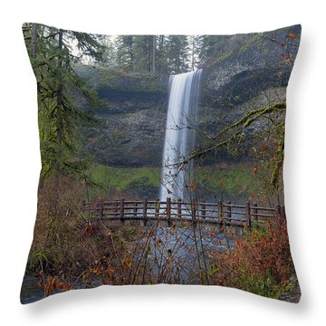 Wood Bridge On Hiking Trail At Silver Falls State Park Throw Pillow