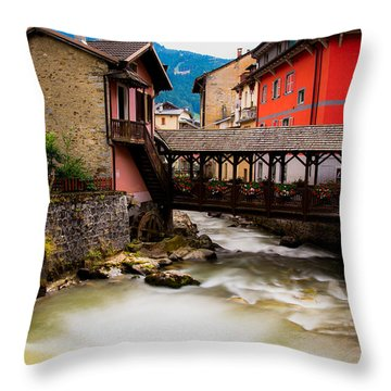 Wood Bridge On The River Throw Pillow by Cesare Bargiggia