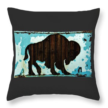Throw Pillow featuring the photograph Wood Buffalo by Larry Campbell