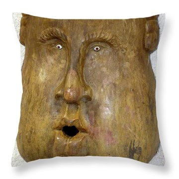 Throw Pillow featuring the photograph Wood Carved Face by Francesca Mackenney