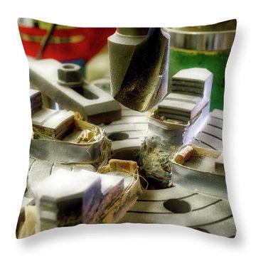 Wood Drill Bit Throw Pillow