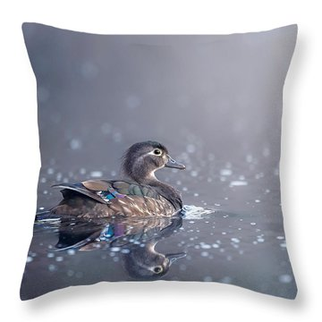 Throw Pillow featuring the photograph Wood Duck Hen by Bill Wakeley