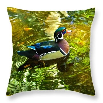 Wood Duck In Lights Throw Pillow by Judy Wanamaker