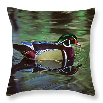 Throw Pillow featuring the photograph Wood Duck by Marie Hicks