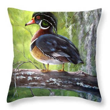 Throw Pillow featuring the painting Wood Duck by Mary McCullah