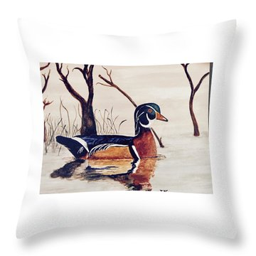Wood Duck No. 2 Throw Pillow
