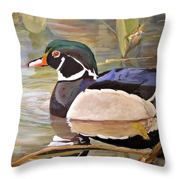 Wood Duck On Pond Throw Pillow
