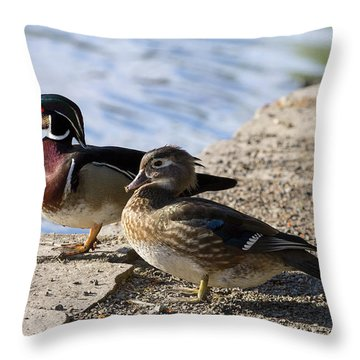 Wood Duck Pair By The Lake Throw Pillow by David Gn