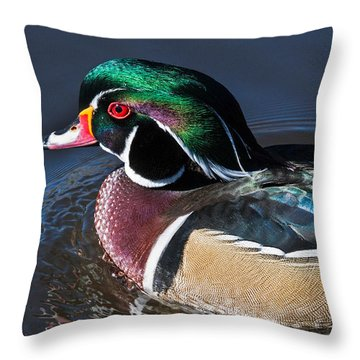 Wood Duck Portrait Throw Pillow