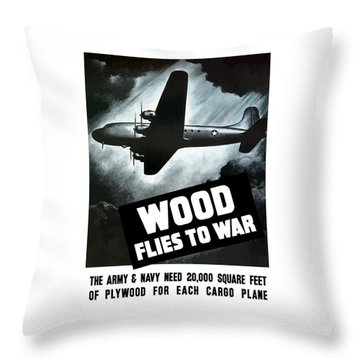Wood Flies To War Throw Pillow by War Is Hell Store