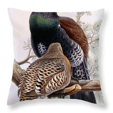 Wood Grouse Throw Pillow