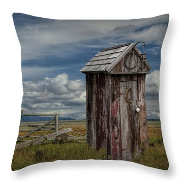 Wood Outhouse Out West Throw Pillow