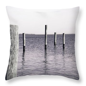Throw Pillow featuring the photograph Wood Pilings In Monotone by Colleen Kammerer