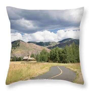Wood River Bike Path Throw Pillow
