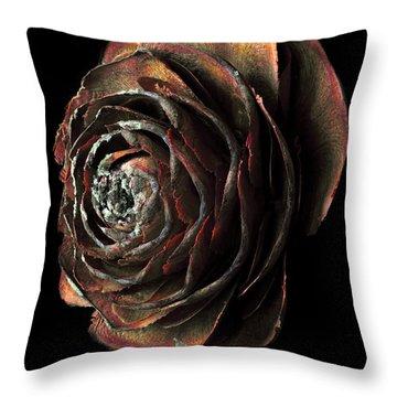 Wood Rose Throw Pillow
