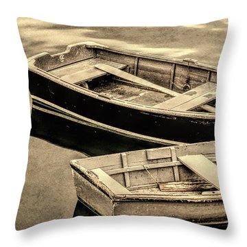 Wood Rowboats Sepia Distressed Throw Pillow