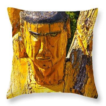 Wood Sculpture In A Garden Throw Pillow