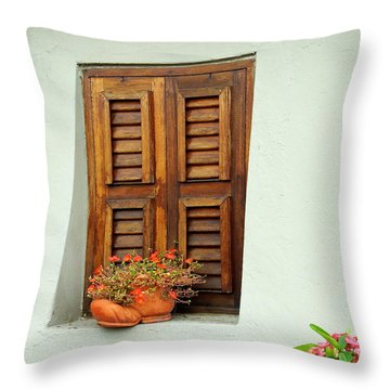 Throw Pillow featuring the photograph Wood Shuttered Window, Island Of Curacao by Kurt Van Wagner
