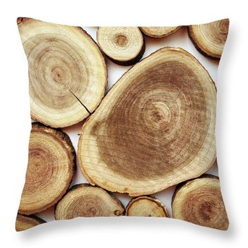 Wood Slices- Art By Linda Woods Throw Pillow by Linda Woods