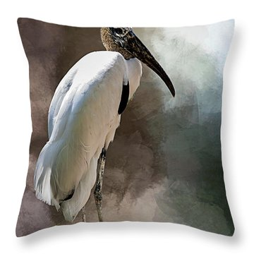 Wood Stork Throw Pillow by Cyndy Doty