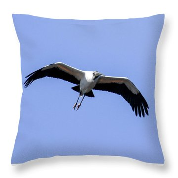 Wood Stork Throw Pillow by Gary Wightman