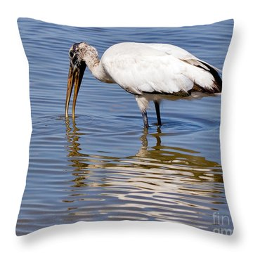 Wood Stork Throw Pillow by Louise Heusinkveld