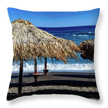 Wood Thatch Umbrellas On Black Sand Beach, Perissa Beach, In Santorini, Greece Throw Pillow