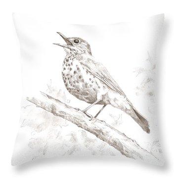 Wood Thrush Throw Pillow