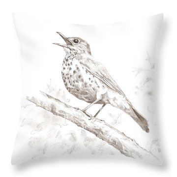Wood Thrush Throw Pillow