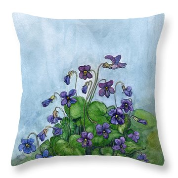 Wood Violets Throw Pillow
