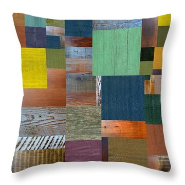 Wood With Teal And Yellow Throw Pillow by Michelle Calkins